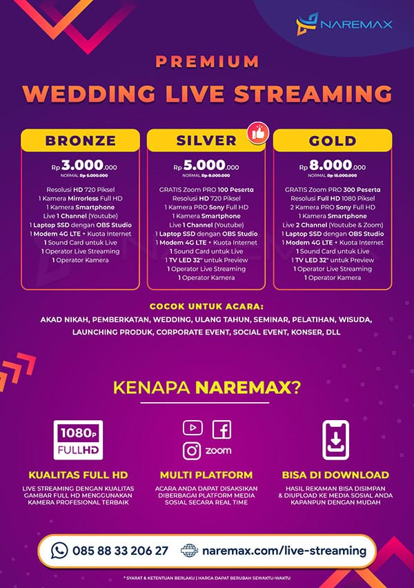 Brosur Jasa Wedding Live Streaming Murah - Jasa Live Streaming Pernikahan Murah - NAREMAX Live Streaming Premium